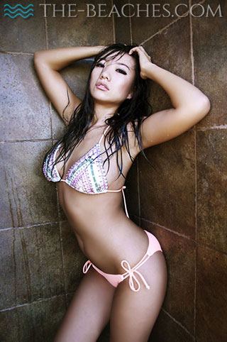 Beautiful South Beach escort poses in the shower.